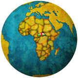Central african republic flag on globe map Stock Image