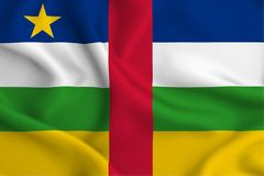 Central african republic flag illustration. Central african republic waving and closeup flag illustration. Perfect for background or texture purposes stock illustration