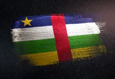 Central African Republic Flag Made of Metallic Brush Paint on Gr stock illustration