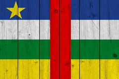 Central African Republic flag painted on old wood plank stock photography