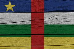 Central African Republic flag painted on old wood plank stock illustration