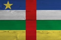 Central African Republic flag painted on old wood plank vector illustration