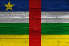 Central African Republic flag painted on old wood plank stock images