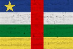Central African Republic flag painted on old wood plank royalty free stock photos