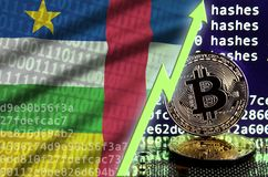 Central African Republic flag and rising green arrow on bitcoin mining screen and two physical golden bitcoins stock illustration