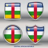 Central African Republic Flag in 4 shapes collection with clipping path stock photos
