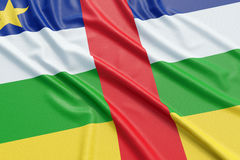Central African Republic flag. Wavy fabric high detailed texture. 3d illustration rendering Stock Image