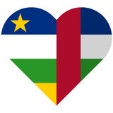 Central African Republic flat heart flag Royalty Free Stock Photos
