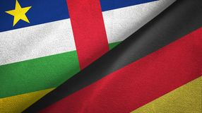 Central African Republic and Germany two flags textile cloth, fabric texture. Central African Republic and Germany flags together textile cloth, fabric texture royalty free stock photography