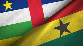 Central African Republic and Ghana two flags textile cloth, fabric texture. Central African Republic and Ghana two folded flags together stock photos