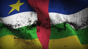Central African Republic grunge dirty flag waving on wind. Central African Republic background fullscreen grease flag blowing on wind. Realistic filth fabric Royalty Free Stock Images