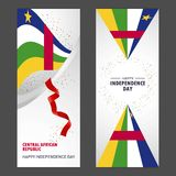 Central African Republic Happy independence day Confetti Celebration Background Vertical Banner set. This Vector EPS 10 illustration is best for print media stock illustration
