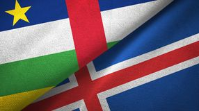 Central African Republic and Iceland two flags textile cloth, fabric texture. Central African Republic and Iceland flags together textile cloth, fabric texture royalty free stock photography