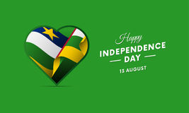 Central African Republic Independence Day. 13 august. Waving flag in heart. Vector. Central African Republic Independence Day. 13 august. Waving flag in heart vector illustration