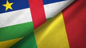 Central African Republic and Mali two flags textile cloth, fabric texture. Central African Republic and Mali two folded flags together stock image