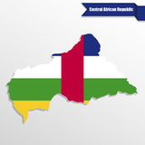 Central African Republic map with flag inside and ribbon Stock Photo