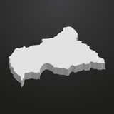 Central African Republic map in gray on a black background 3d Royalty Free Stock Photo