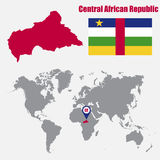 Central African Republic map on a world map with flag and map pointer. Vector illustration Stock Photo