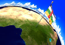 Central African Republic national flag marking the country location on world map. 3D rendering, parts of this image furnished by N. 3D render of the world with Stock Images