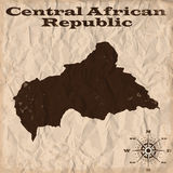 Central African Republic old map with grunge and crumpled paper. Vector illustration Stock Photos