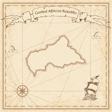 Central African Republic old treasure map. Sepia engraved template of pirate map. Stylized pirate map on vintage paper Stock Photography