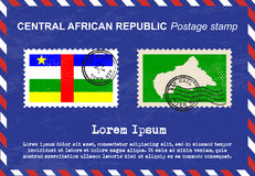 Central African Republic Postage stamp, vintage stamp, air mail envelope. Stock Photo
