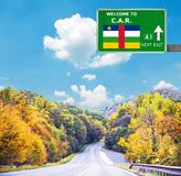 Central African Republic road sign against clear blue sky stock images