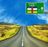 Central African Republic road sign against clear blue sky royalty free stock photo