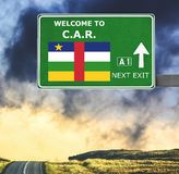 Central African Republic road sign against clear blue sky royalty free stock images