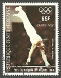 Olympic Games Los Angeles, Bars fixed. Central African Republic - stamp printed 1984, Multicolor Air Mail issue, Topic Athletics, Series 1984 Olympic Games Los Stock Photography