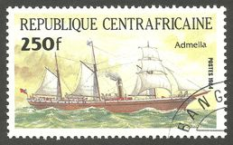 Ship Pericles, Admella. Central African Republic - stamp printed 1984, Multicolor issue of offset printing, Topic Sailing ships, Series Packet Ship Pericles Royalty Free Stock Images
