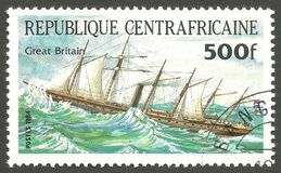 Ship Pericles, Great Britain. Central African Republic - stamp printed 1984, Multicolor issue of offset printing, Topic Sailing ships, Series Packet Ship Stock Photos