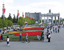 Central alley in the All-Russia Exhibition Centre Royalty Free Stock Image
