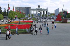 Central alley in the All-Russia Exhibition Centre (VVC) Royalty Free Stock Photo