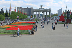 Central alley in the All-Russia Exhibition Centre (VVC) Stock Photos