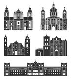 Central America. American buildings on white background stock illustration