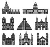 Central America. American buildings on white background royalty free illustration