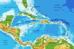Central America and Caribbean Islands physical map Stock Photo