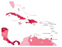 Central America and Caribbean states political map in four shades of maroon with black country names labels. Simple flat. Vector illustration Royalty Free Stock Image