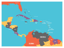 Central America and Carribean states political map with country names labels. Simple flat vector illustration.  Royalty Free Stock Photography