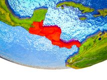 Central America on 3D Earth. With divided countries and watery oceans. 3D illustration stock photos