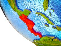 Central America on 3D Earth. Central America on model of Earth with country borders and blue oceans with waves. 3D illustration stock illustration