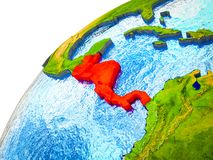 Central America on 3D Earth. Model with visible country borders. 3D illustration stock illustration