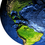 Central America on Earth with exaggerated mountains. Central America on model of Earth with exaggerated surface features including ocean floor. 3D illustration Stock Photos