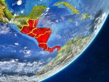 Central America on Earth from space. Central America on model of planet Earth with country borders and very detailed planet surface and clouds. 3D illustration stock illustration