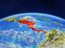 Central America on Earth from space. Central America on planet Earth with country borders and highly detailed planet surface and clouds. 3D illustration royalty free illustration
