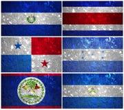 Central America flaggor Royaltyfri Fotografi
