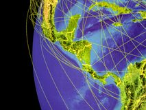 Central America on globe from space. Central America from space on planet Earth with lines representing global communication, travel, connections. 3D stock illustration