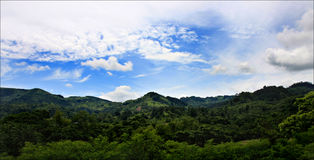 Central America landscape with greenery and blue sky with clouds, Honduras Royalty Free Stock Image