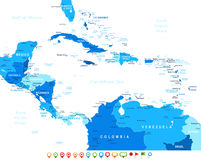 Central America - map and navigation icons - illustration. Royalty Free Stock Photo